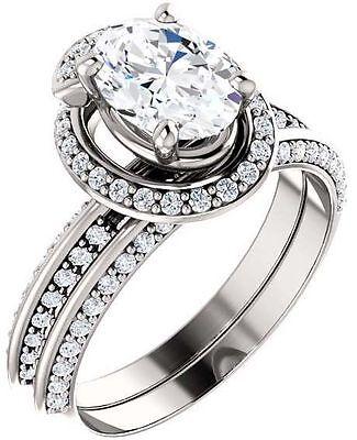 2 carat Oval Shape Diamond Engagement Solitaire Ring 14k White Gold GIA H VS2