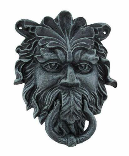 """9"""" H Door Knocker Cast Iron NORTHWIND Green Man Face Door Knocker Verdigris"""