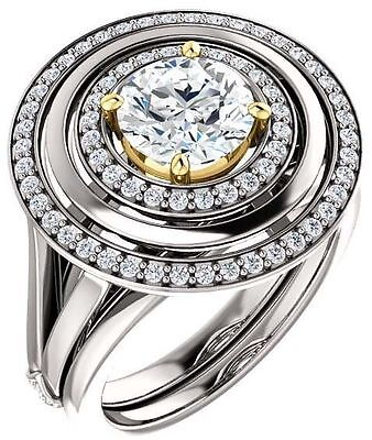 GIA 1.20 carat Round Diamond Halo Engagement Wedding 14K White Gold Ring G VS2