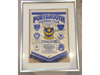 Portsmouth FC signed banner 1998 centenary year