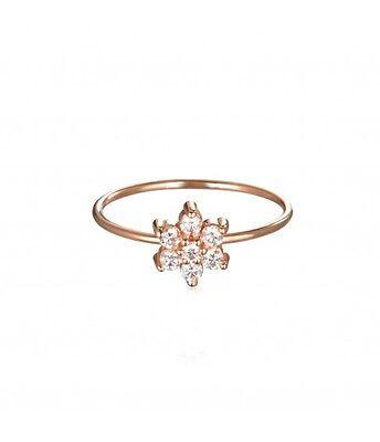 Ginette NY Simple Star Diamond Ring Gold flower Brand New