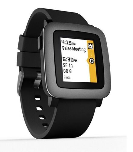 Pebble PBTM-BLK Time Smartwatch 38mm Polycarbonate Black Silicone