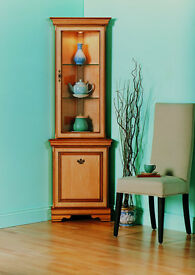 Rossmore by Sherry Solid Maple Corner Display Cabinet