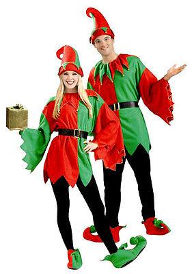 Mens Ladies Adult Santas Helper Christmas Elf Costume Fancy Dress Outfit 5PC L - Santa Outfits For Men