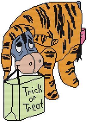 Tiger Cross Stitch Pattern - CROSS STITCH+ CRAFT PATTERN Eeyore Donkey Halloween Tigger Tiger Costume Bag