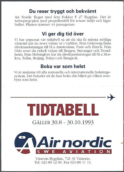 Air Nordic local timetable 8/30/93 [9081]