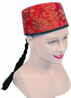 CHINESE MANDARIN HAT RED FABRIC+PLAIT (CULTURES FANCY DRESS - Chinese Mandarin Kostüm