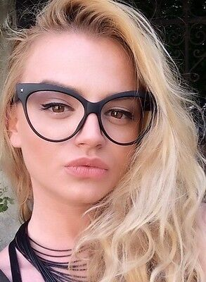 Vintage Cat Eye Oversized Large Frame Clear Lenses Women Eyeglasses (Cat Eye Oversized Glasses)