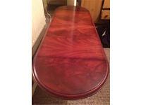 Drop leaf extendable coffee table, dark wood. CHEAP