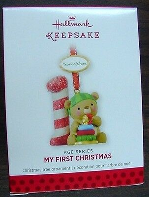 NIB 2013 HALLMARK ORNAMENT MY FIRST CHRISTMAS AGE SERIES QXG1985 NEW BEAR (Christmas Age Bear)
