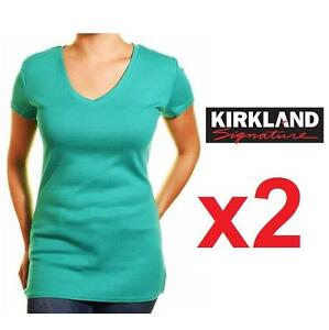 2 NEW KIRKLAND TSHIRT WOMEN'S MED - 125424520 - GREEN V NECK SHIRT