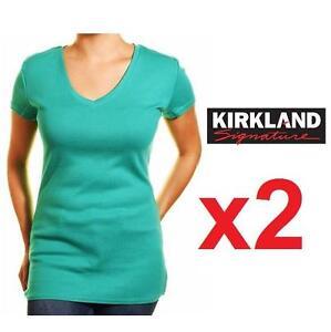 2 NEW KIRKLAND TSHIRT WOMEN'S MED - 125424520 - GREEN V NECK SHIRT