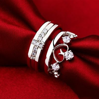 1.25CT Diamond 14k gold over Couple Love Heart Comfort Fit Bands Promise -