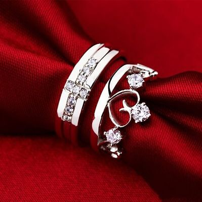 2.50ct diamond couple love heart shape ring comfort fit cross band promise -