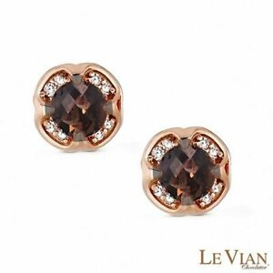 Liquidation New Levian Diamonds Chocolate Topaz Earrings 14k