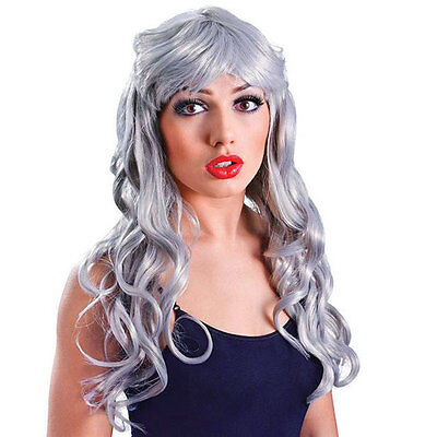 Ghost Wig Long Wavy Silver Grey Old Woman Ladies Witch Party Costume Wig New