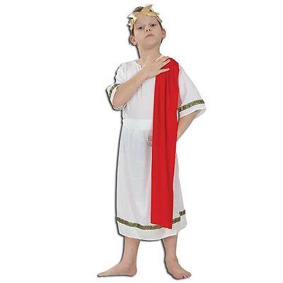 BOYS ROMAN EMPEROR CAESAR TOGA FANCY DRESS COSTUME
