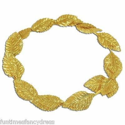 Deluxe Gold Leaf Roman Toga Party Laurel Headdress Ceaser Grecian Fancy Dress