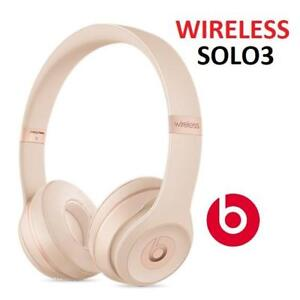 NEW BEATS SOLO3 WIRELESS HEADPHONES MR3Y2LL/A 179420642 MATTE GOLD BLUETOOTH AUDIO ON EAR SOUND ISOLATING