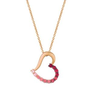 NEW Le Vian Rose Gold, Ruby & Sapphire Heart Necklace