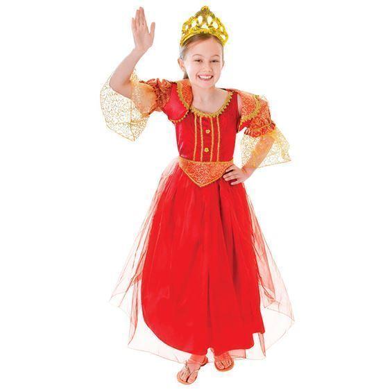 GIRLS RED PRINCESS DELUXE QUEEN TUDOR ELIZABETHAN  FANCY DRESS COSTUME
