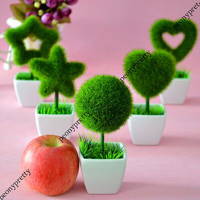 DIY artificial fake heart star plant grass flower pot home wedding decor gift