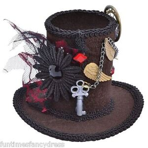 Steam-Punk-Victorian-Burlesque-Brown-Velour-Mini-Top-Hat-Clip-On-Fancy-Dress