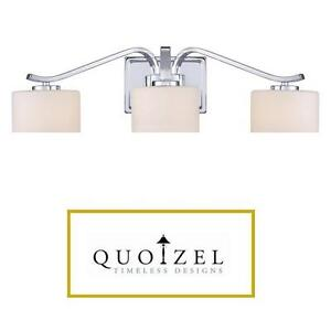 NEW QUOIZEL 3 LIGHT BATHROOM LIGHT POLISHED CHROME FROSTED GLASS SHADE BATH LIGHTS LIGHTING FIXTURES VANITY 108121194