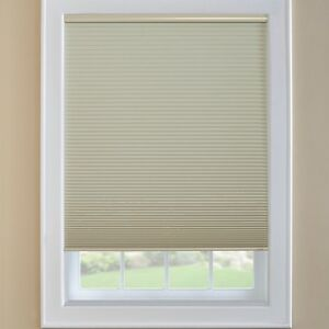Beige Black out cordless cellular shades