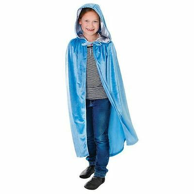 GIRLS BLUE VELVET CLOAK CAPE MEDIEVAL TUDOR FROZEN HALLOWEEN FANCY DRESS COSTUME