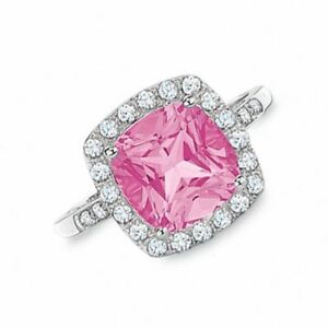10K White Gold Pink Sapphire Diamond Accent Ring