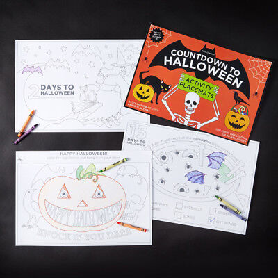 REDUCED!Two's company-Countdown to Halloween,Coloring & Activity Paper Placemats