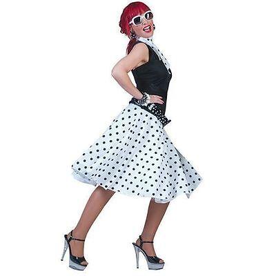 Damen Weiß Gepunkteter Rock N Roll Rock Und - Rock Und Roll Kostüm