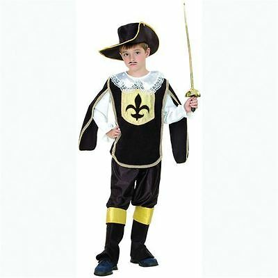 BOYS THREE MUSKETEER FRENCH RENAISSANCE TUDOR MEDIEVAL FANCY DRESS COSTUME - French Boy Costume
