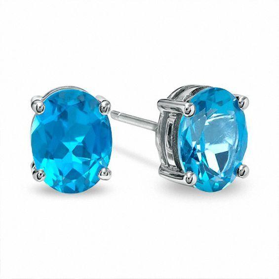 Sterling Silver Blue Topaz 6x4mm Oval-Cut Solitaire Stud Earrings Fine Earrings