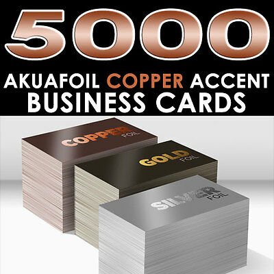 PERSONALIZED COPPER FOIL ACCENT 5000 FULL COLOR GLOSSY AKUAFOIL BUSINESS CARDS