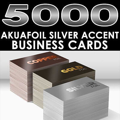 PERSONALIZED SILVER FOIL ACCENT 5000 FULL COLOR GLOSSY AKUAFOIL BUSINESS CARDS