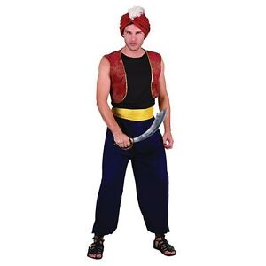 Arabian Nights Bandit Fancy Dress Aladdin Genie Mens Costume Adult Outfit + Hat