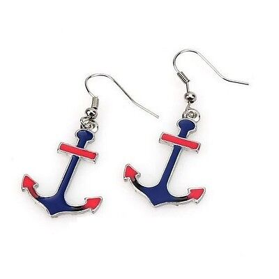 Blue Long Anchor Drop Earrings - Blue Enamel - Nautical Maritime Sailor