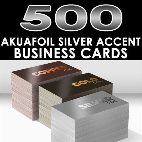 PERSONALIZED SILVER FOIL ACCENT 500 FULL COLOR GLOSSY AKUAFOIL BUSINESS CARDS