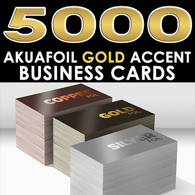 PERSONALIZED GOLD FOIL ACCENT 5000 FULL COLOR GLOSSY AKUAFOIL BUSINESS CARDS