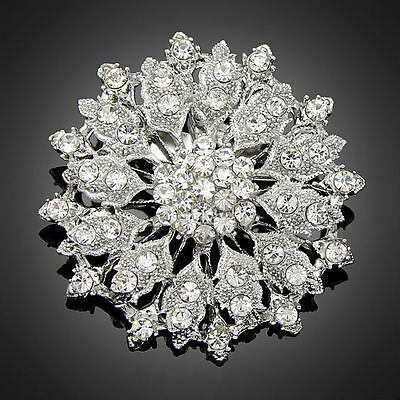 (5CM Large Clear rhinestone crystal flower cluster wedding prom women brooch pin)