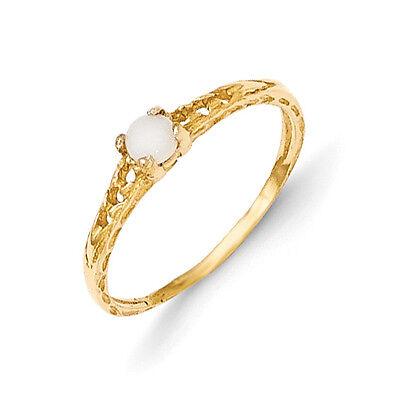 14K Yellow Gold 3mm Opal Birthstone Baby Ring Size 3 Madi K Children's Jewelry