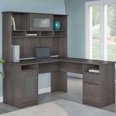 Gray L Shaped Office Desk w/ Hutch Home Furniture Computer Executive Grey Desks Gray Computer Furniture