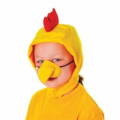 CHICKEN COCKEREL SET HOOD AND NOSE EASTER FANCY DRESS COSTUME ACCESSORY