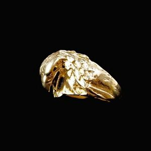 18k Solid Gold Ring, yellow gold, men's, custom jewellery, eagle