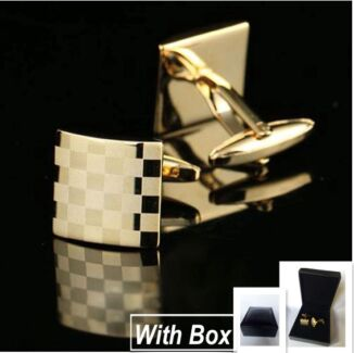 NEW High Quality Mens Golden Square Steel Cufflinks With Box Wembley Cambridge Area Preview
