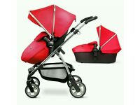 Nearly new Silver Cross Wayfarer in Chilli Red travel system pushchair carrycot