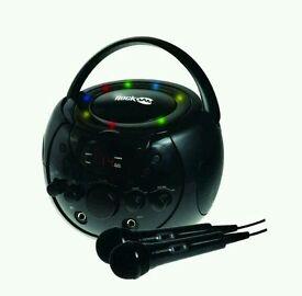 RockJam Portable Karaoke Machine & CD Player Family Disco Party Pack in Black