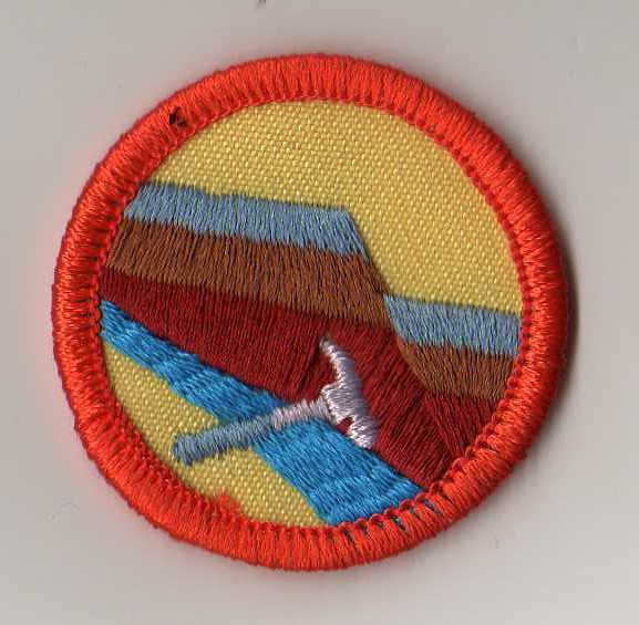 Junior Girl Scouts Rocks Rock Geology Badge Patch with Orange Border